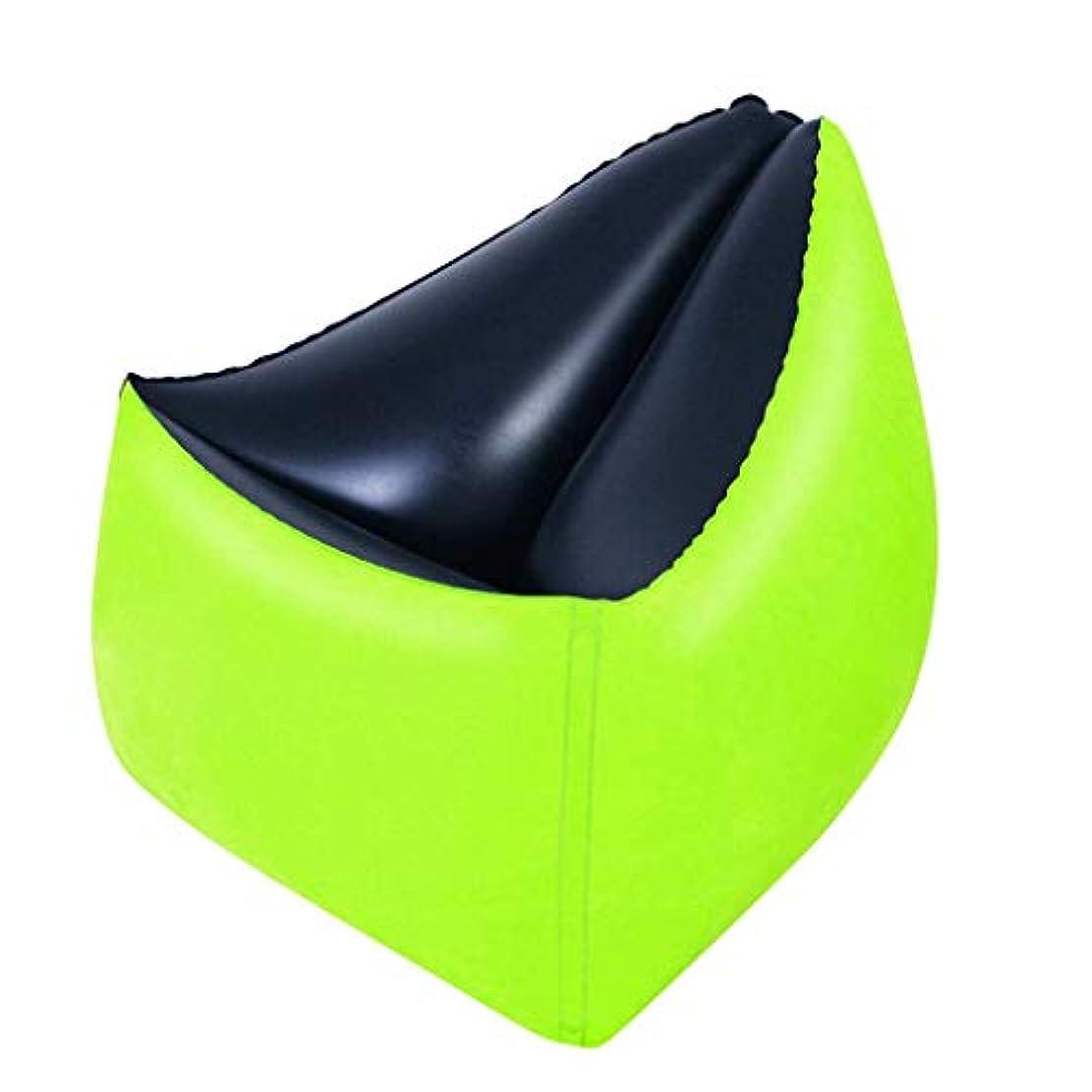 粒ミリメーター拍手折りたたみ椅子ファッション怠惰なソファ屋外インフレータブルチェアファッションソファインフレータブルラウンジチェア(グリーン)を昼寝インフレータブルソファエアベッド