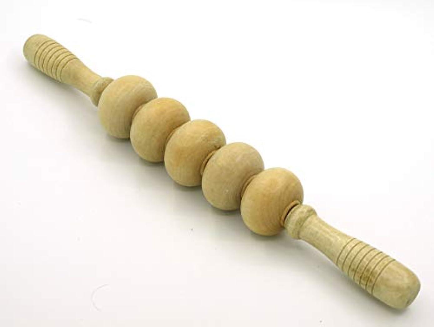 回るカプラーマディソン木製 マッサージ ローラー 棒 5玉