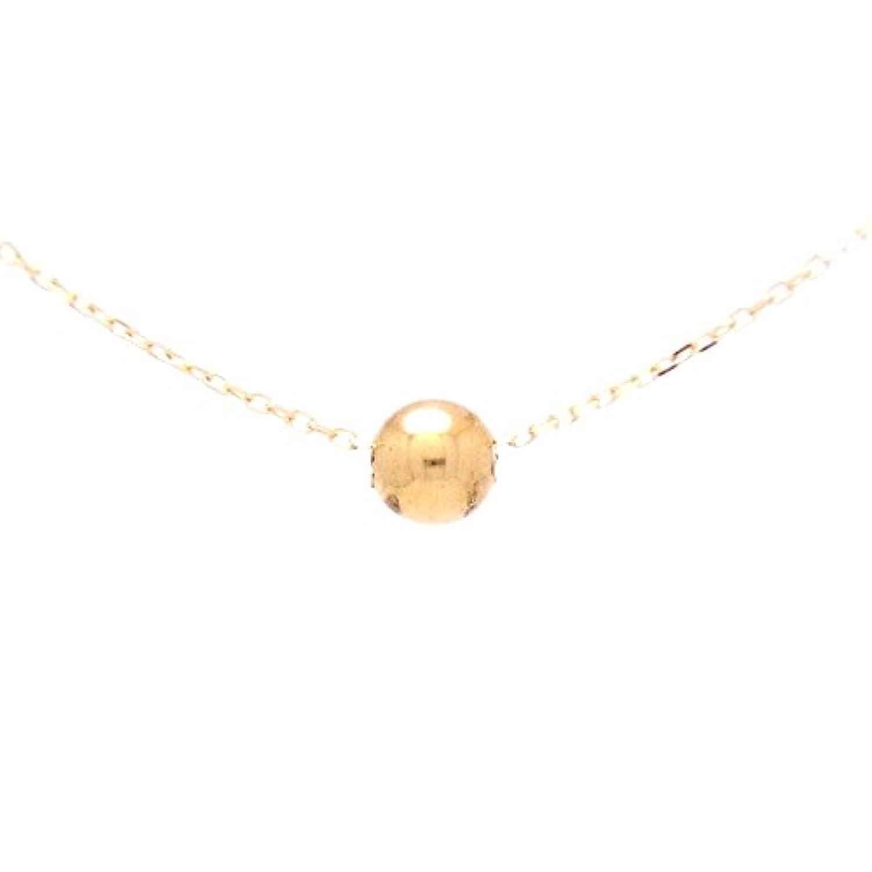 Gold Ball 18金製 K18 gold ゴールド (日本製 Made in Japan) (金属アレルギー対応) 4mm ボール 丸玉 プチ ペンダント ネックレス チェーン 45cm ジュエリー ケース付 [HJ]
