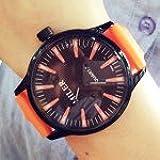 ZooooM カラフル クラシック デザイン 文字盤 アナログ ウォッチ 腕 時計 ファッション アクセサリー おもしろ カジュアル メンズ レディース 男性 女性 男 女 兼 用 ( オレンジ ) ZM-WATCH2-771-OR