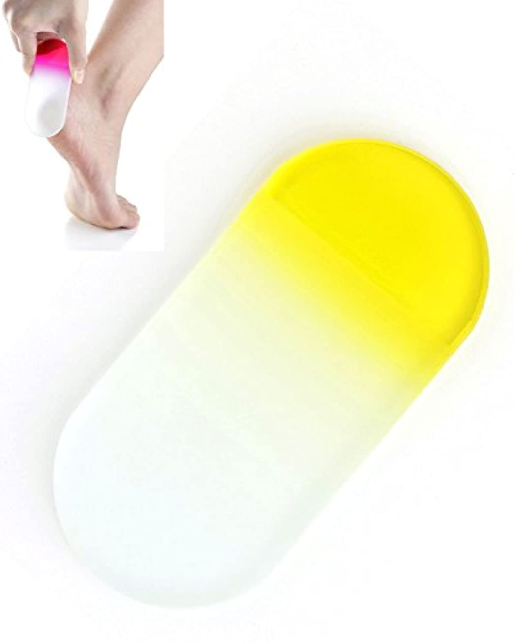 グレートバリアリーフ回想ソースBISON チェコ製ガラス かかとキレイ イエロー 荒目/細目両面 専用ケース付 介護用