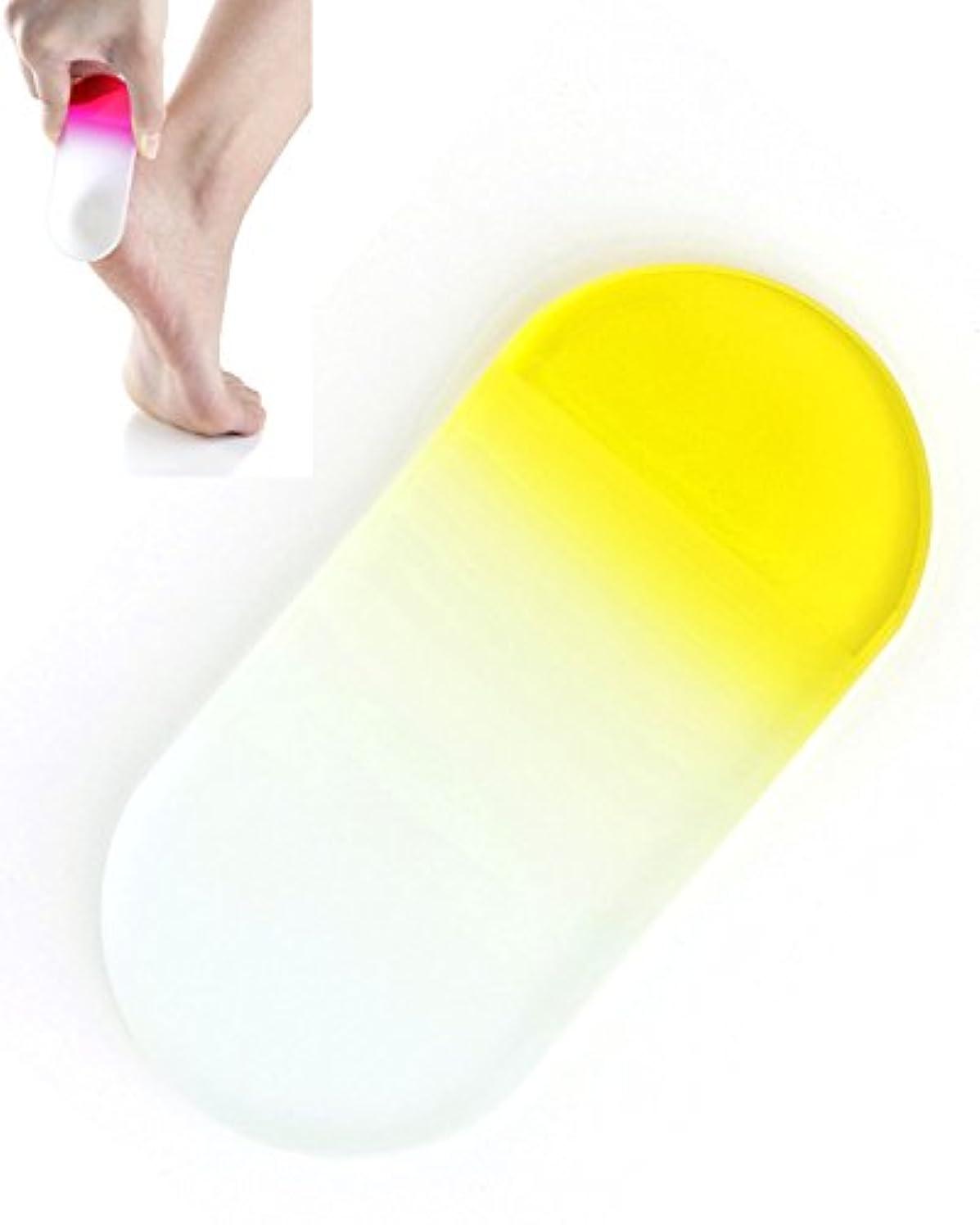 口径傾向があります小石BISON チェコ製ガラス かかとキレイ イエロー 荒目/細目両面 専用ケース付 介護用