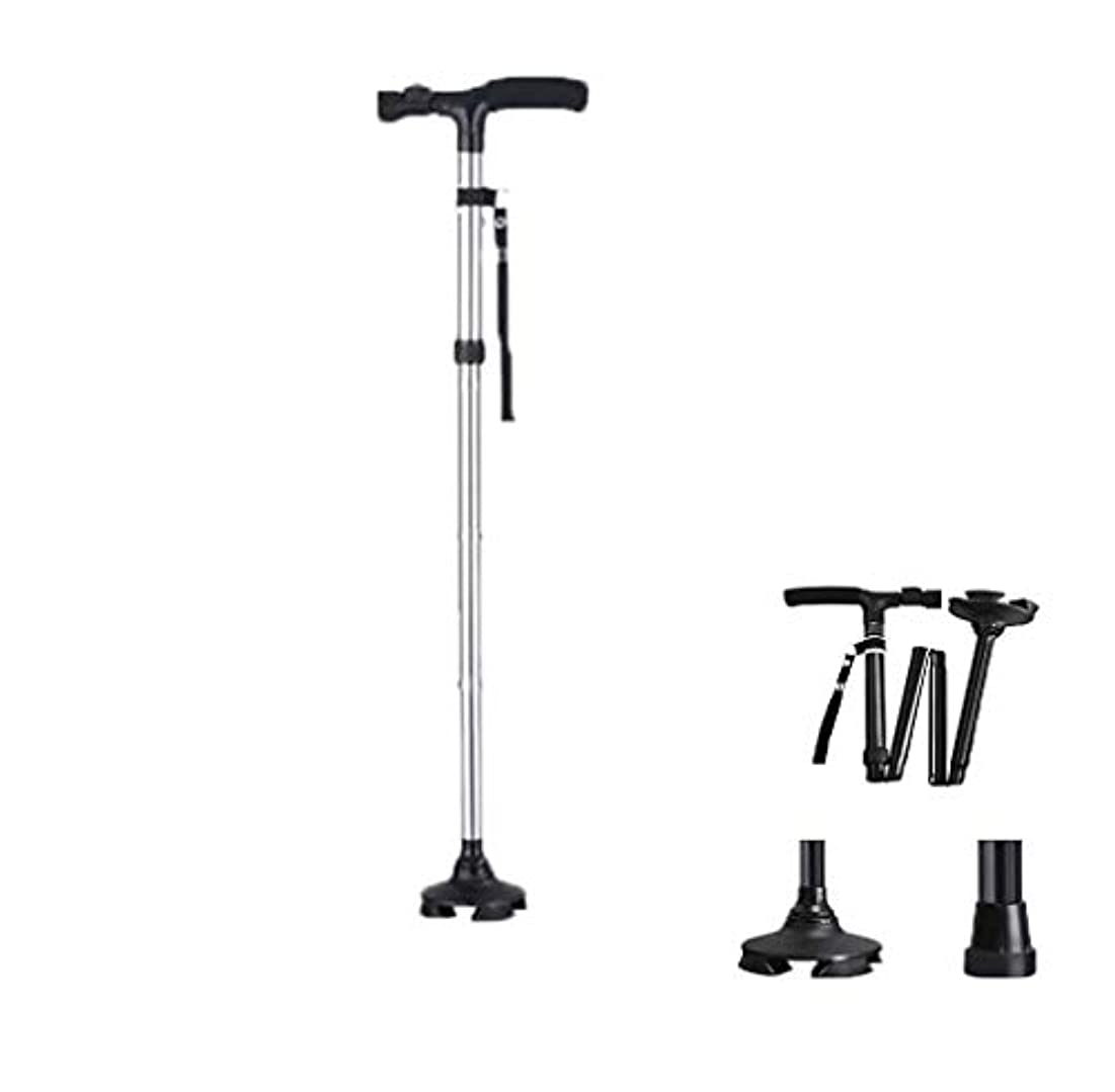メンテナンス一致する請求可能折りたたみ式カラーウォーキングスティック松葉杖軽量で調節可能な歩行ケーンとのバランスLEDライトクライミングスティック,Silver