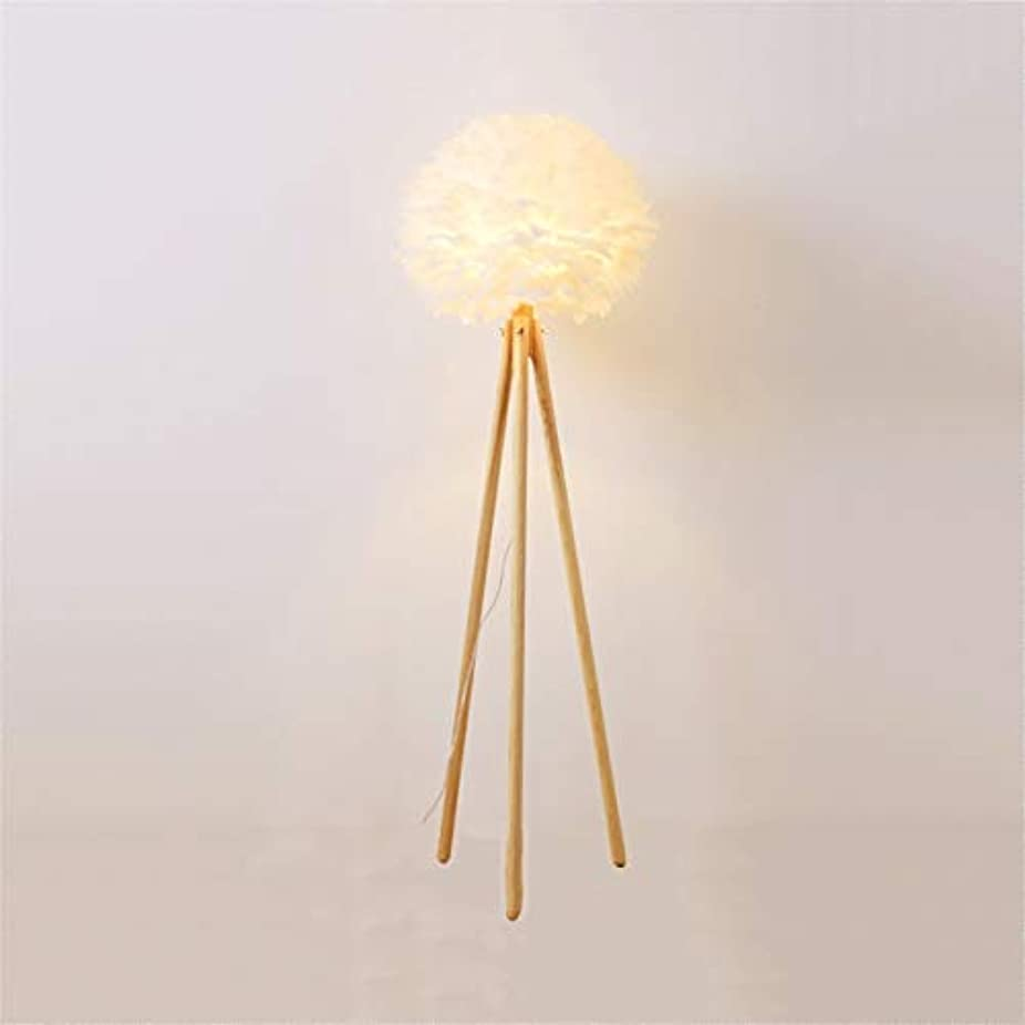 傀儡牧草地怠感フロアランプホワイトフェザーフロアランプ無垢材北欧寝室ワンLEDランプヘッドランプ(ライト150cm)
