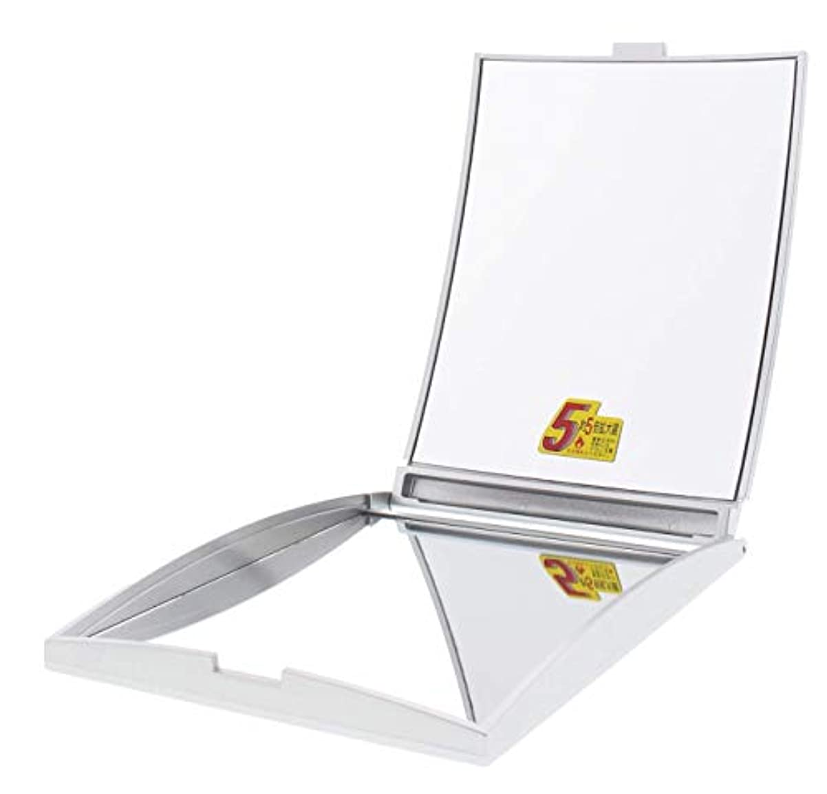 白鳥マンモス実行メリー 片面約5倍拡大鏡付コンパクトミラー Lサイズ シルバー AD-104