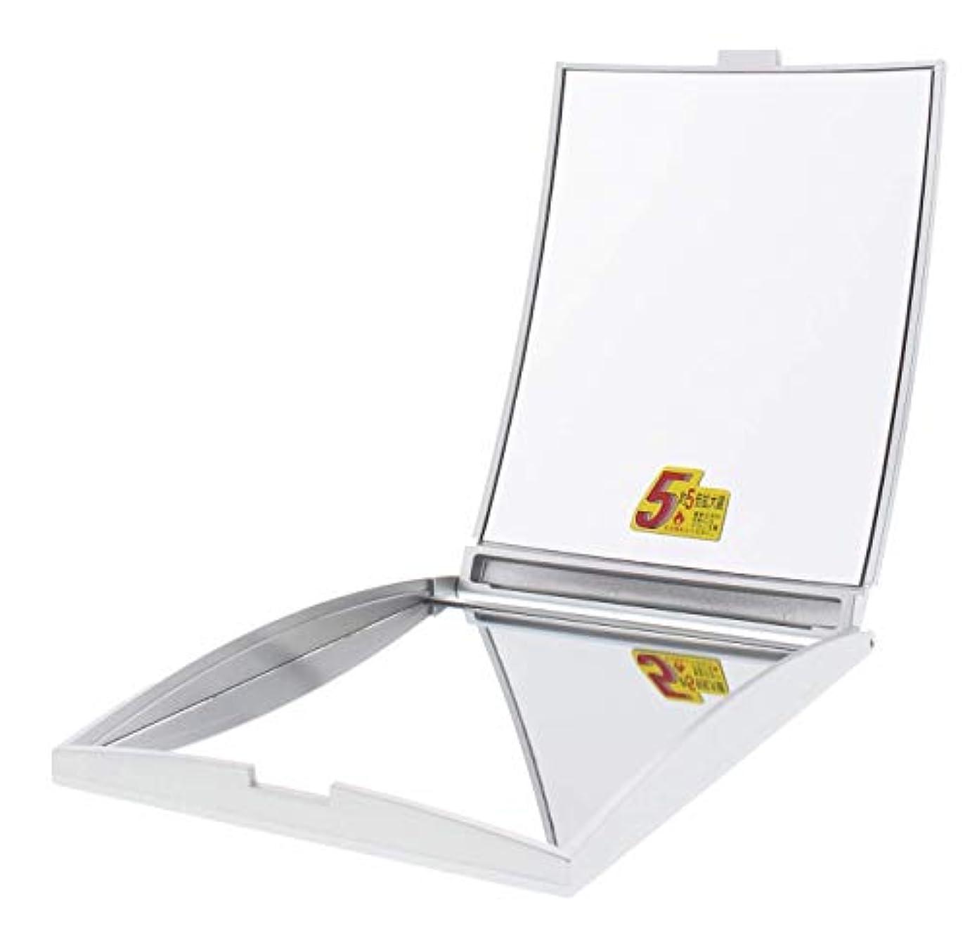 基準ケージ命題メリー 片面約5倍拡大鏡付コンパクトミラー Lサイズ シルバー AD-104