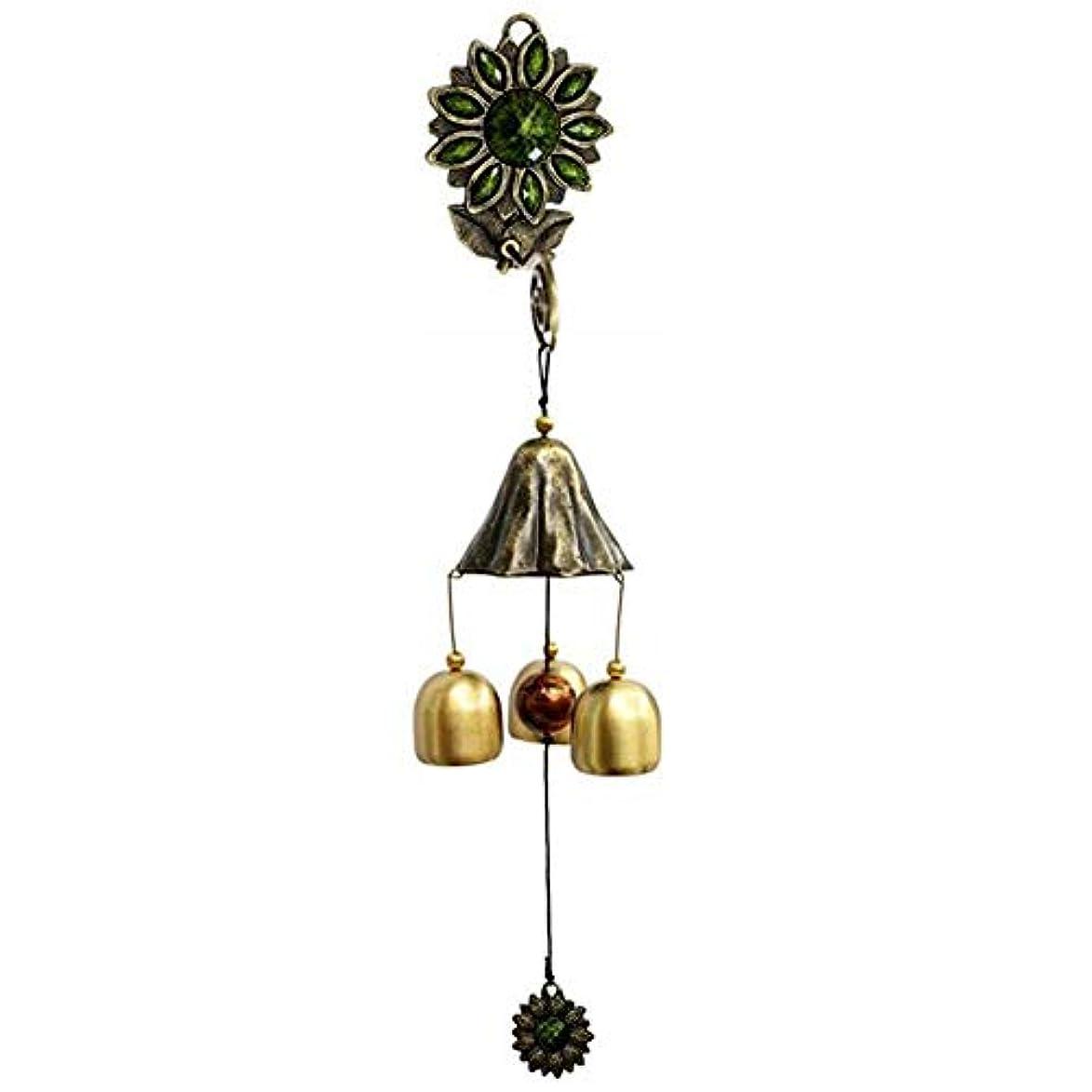 コール知り合いになる地上でYoushangshipin 風チャイム、ガーデンメタルクリエイティブひまわり風の鐘、グリーン、全長約35CM,美しいギフトボックス (Color : Green)