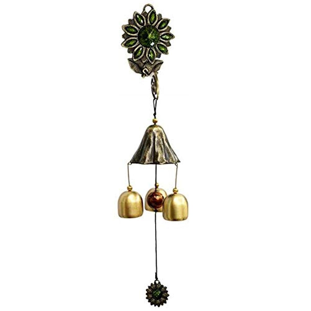 提案一流ぴかぴかKaiyitong01 風チャイム、ガーデンメタルクリエイティブひまわり風の鐘、グリーン、全長約35CM,絶妙なファッション (Color : Green)
