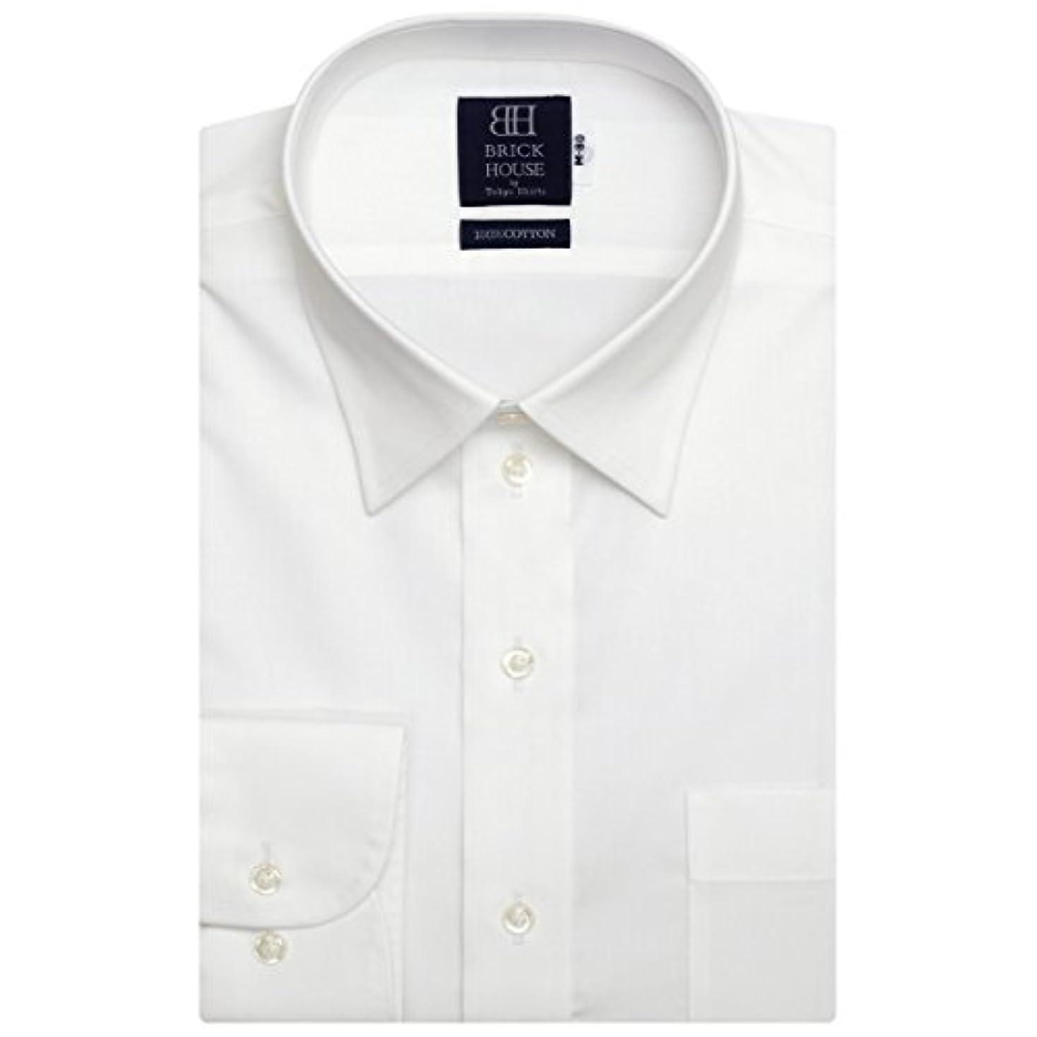 郊外キャンドル他の日ブリックハウス ワイシャツ 長袖 形態安定 レギュラー 綿100% 白無地 標準体 メンズ BM01X904AB12R4A-96