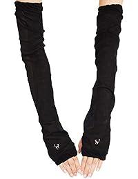 Aness (アネス) 1ポイント刺繍 アームカバー UVカット 無地 ロング 60cm 冷感加工 裏メッシュ 腕カバー レディース p402