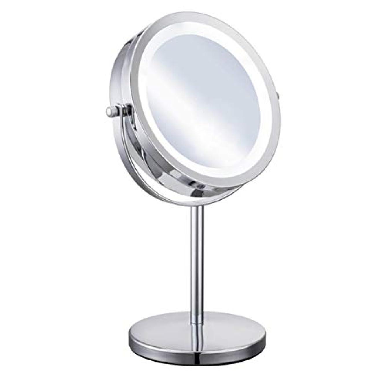 滅びる金額まどろみのあるIntercoreyポータブルサイズ5X倍率フェイシャル化粧品化粧品丸形LEDライト女性デスクトップ化粧鏡