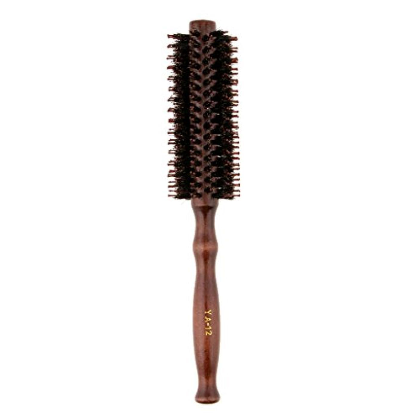 同種の飛ぶ書誌ロールブラシ ヘアブラシ 木製ハンドル 滑らか 仕上げ 速乾性 軽量 理髪 美容 カール 2タイプ選べる - #2