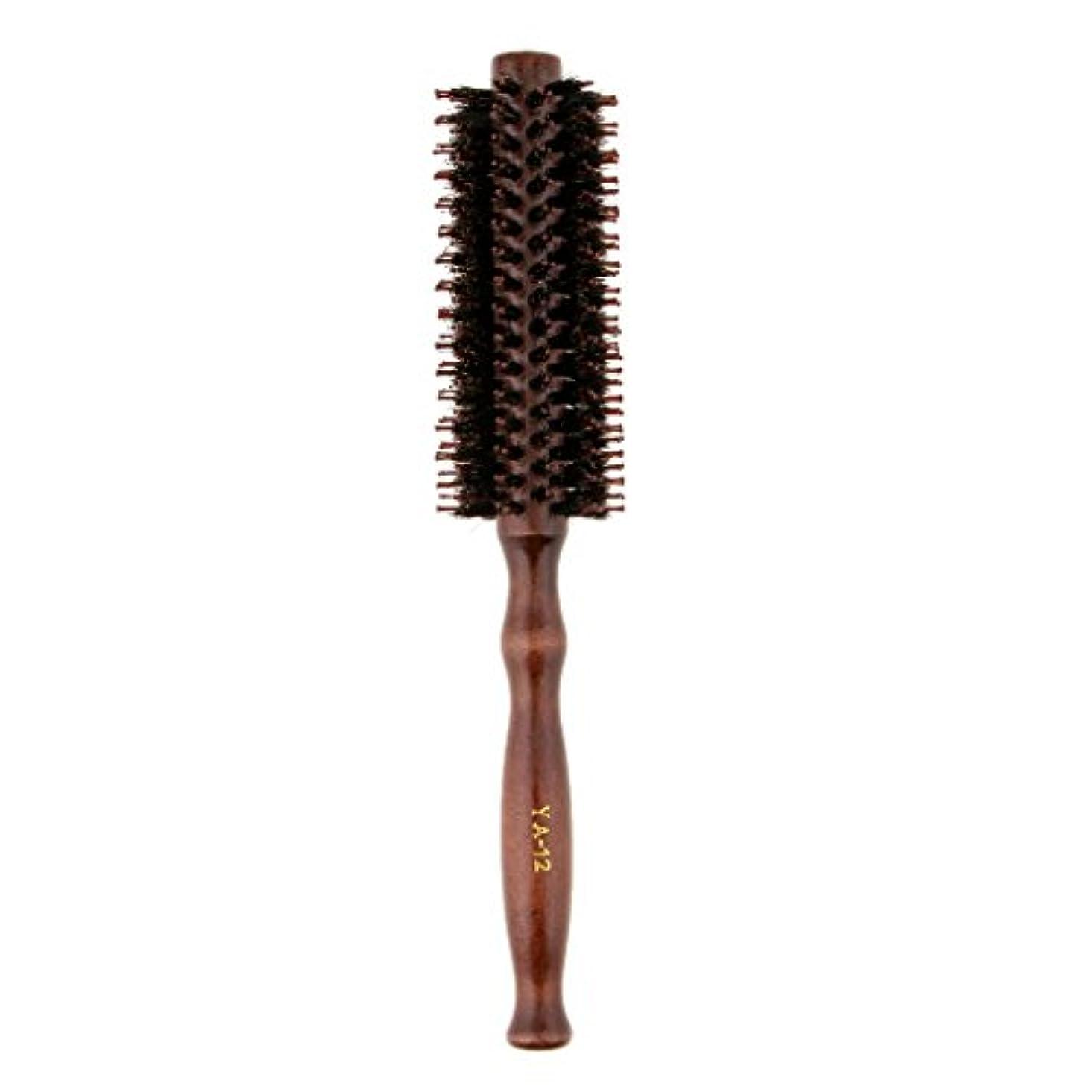 生産的印象困難ロールブラシ ヘアブラシ 木製ハンドル 滑らか 仕上げ 速乾性 軽量 理髪 美容 カール 2タイプ選べる - #2