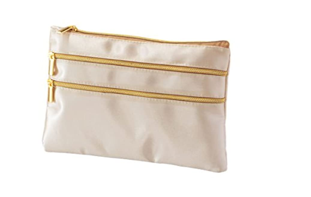 商標勧告誇張する薄型 平型 スリムポーチ コスメポーチ 化粧ポーチ (シャンパンゴールド)