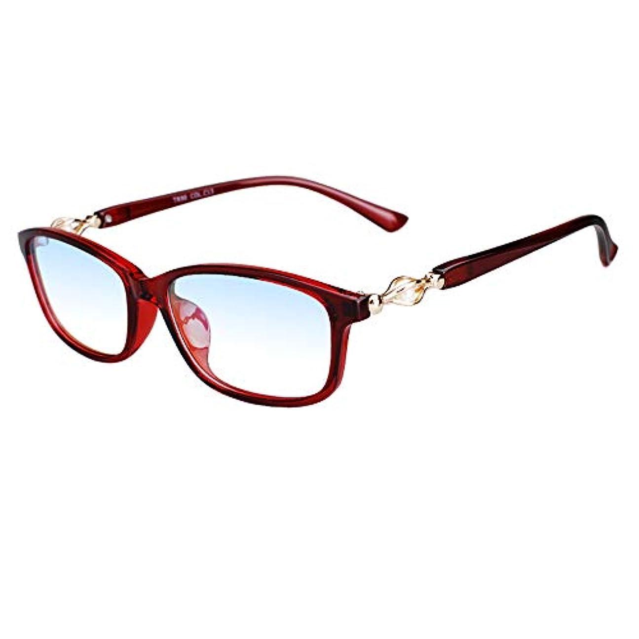 超軽量アンチブルーコンピューター老眼鏡、女性用老眼鏡、UV耐性樹脂透明レンズ、 ビーズデザインのテンプル、スプリングヒンジ老眼鏡