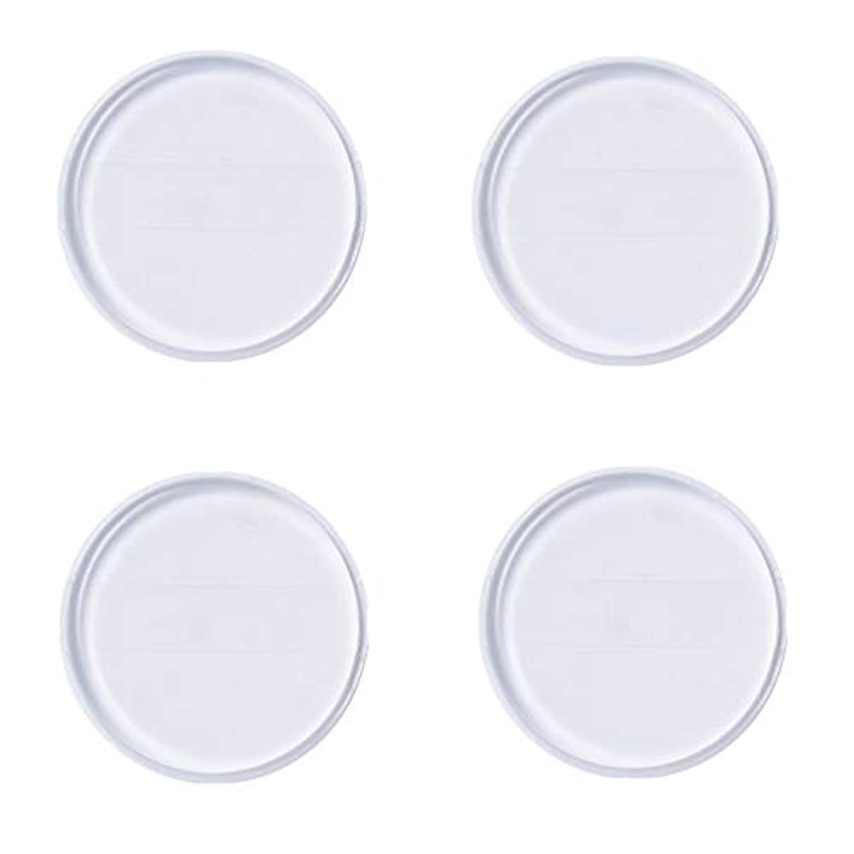 Kingsie シリコンパフ 帯付き 4個セット 丸型 透明 柔らかい ファンデーションパフ ゲルパフ メイクスポンジ 水洗い 清潔
