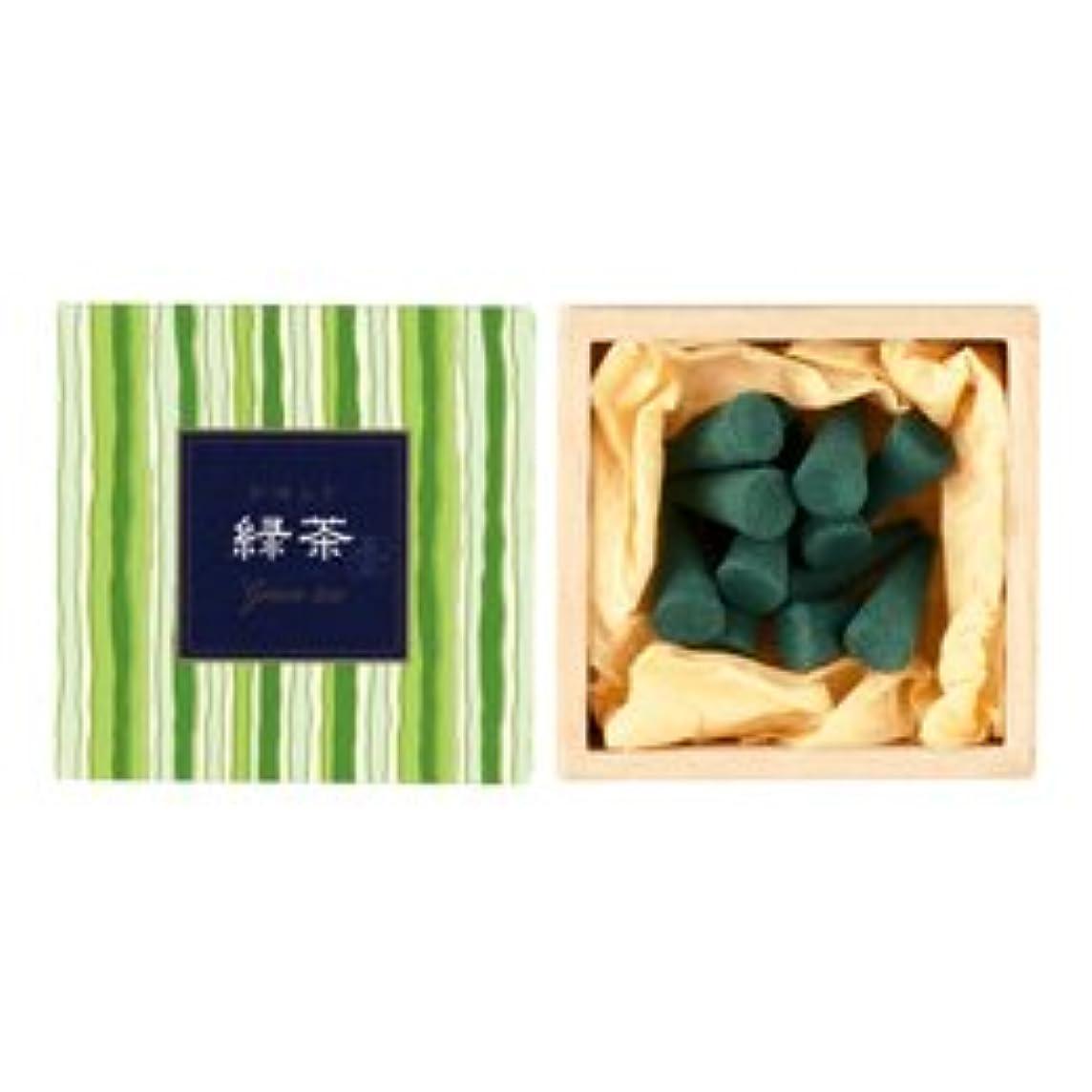 ピッチ咳埋め込む【日本香堂】かゆらぎ お香 緑茶 コーン 香立付 12個