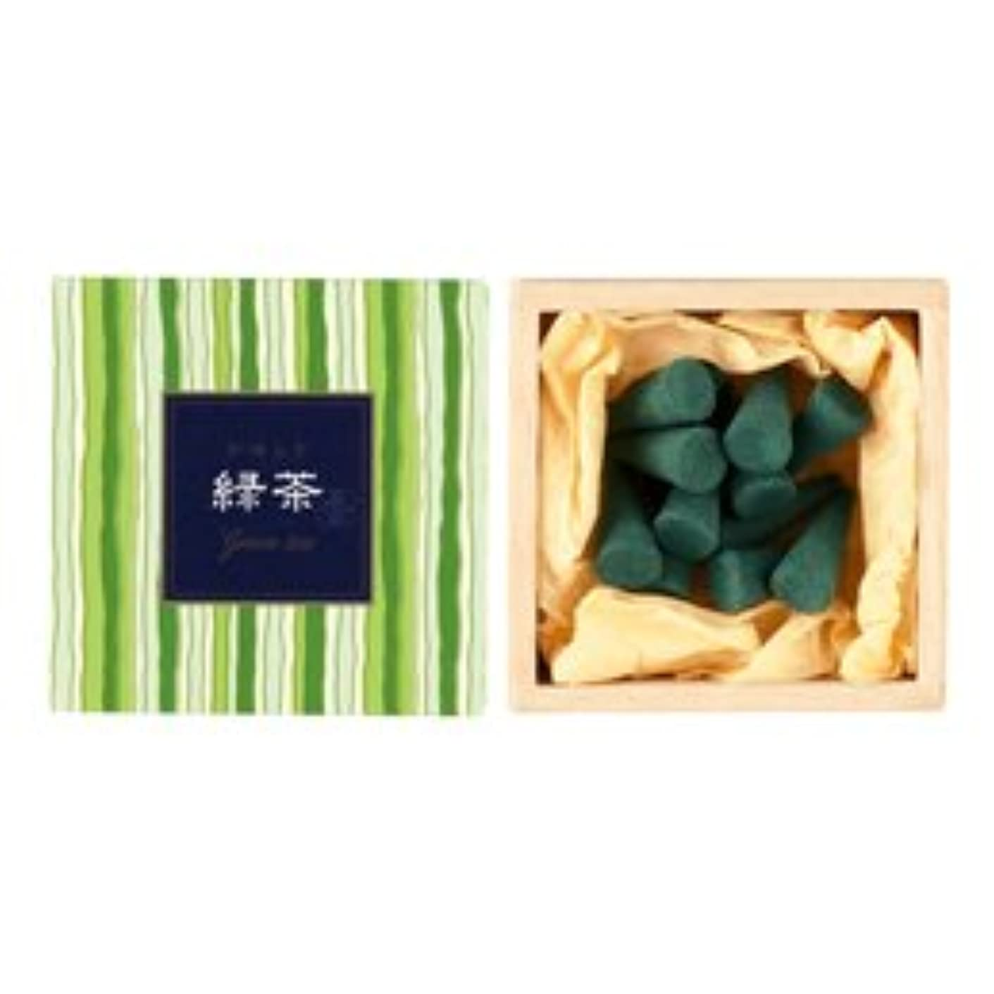 毒性教科書期待するかゆらぎ お香 緑茶 コーン 香立付 12個 【日本香堂】