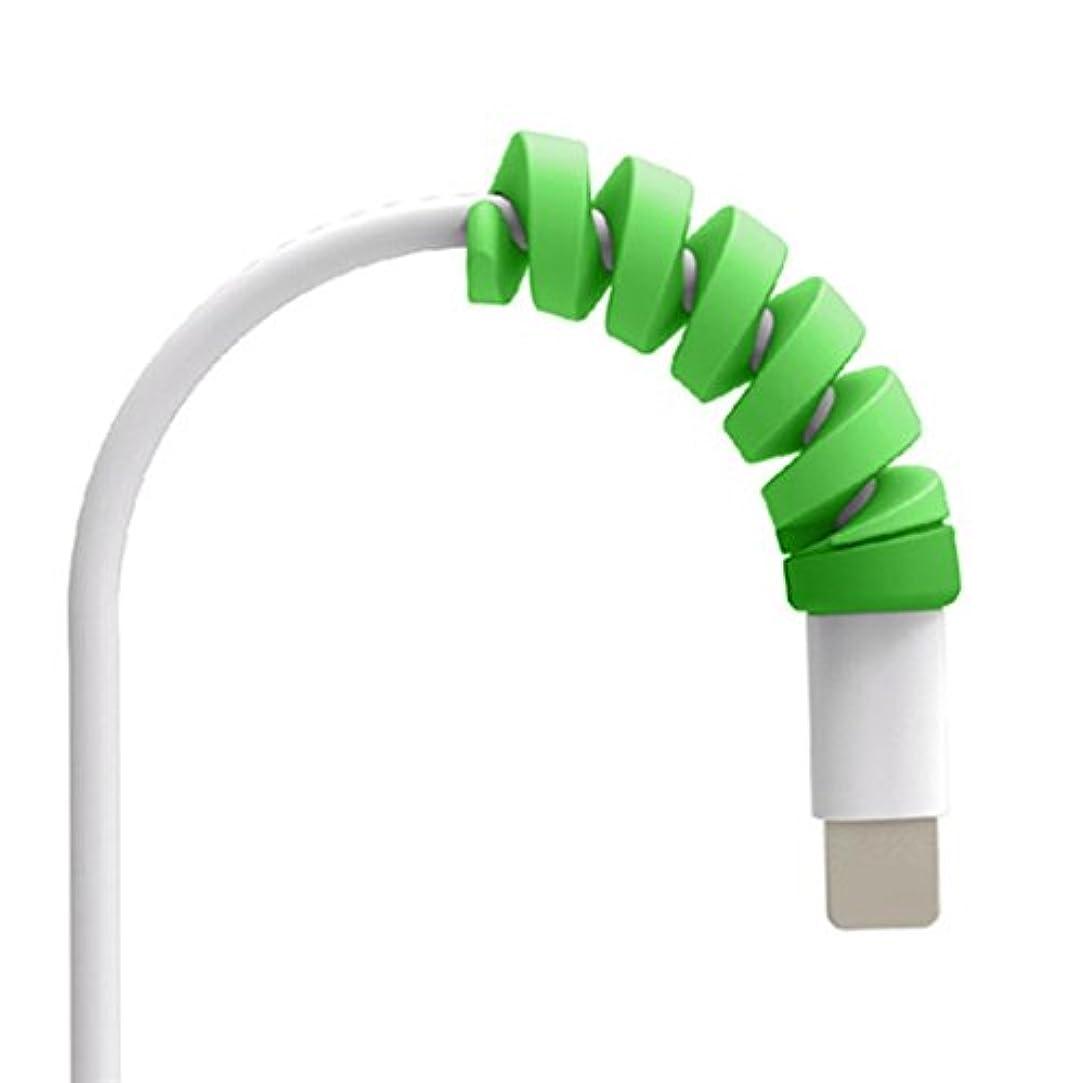 ベッツィトロットウッドボア二層SakuraBest 2-Piece Spiral Data Cable Protector for Iphone (Green)