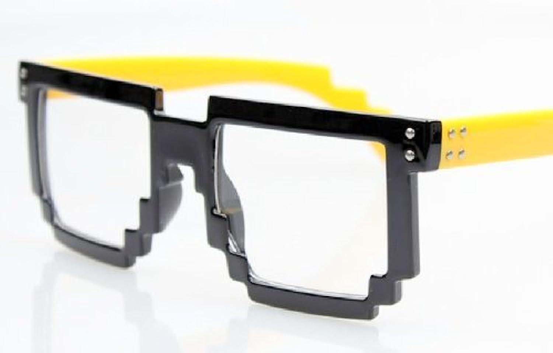 おもしろサングラス モザイクサングラス ブラック×イエロー