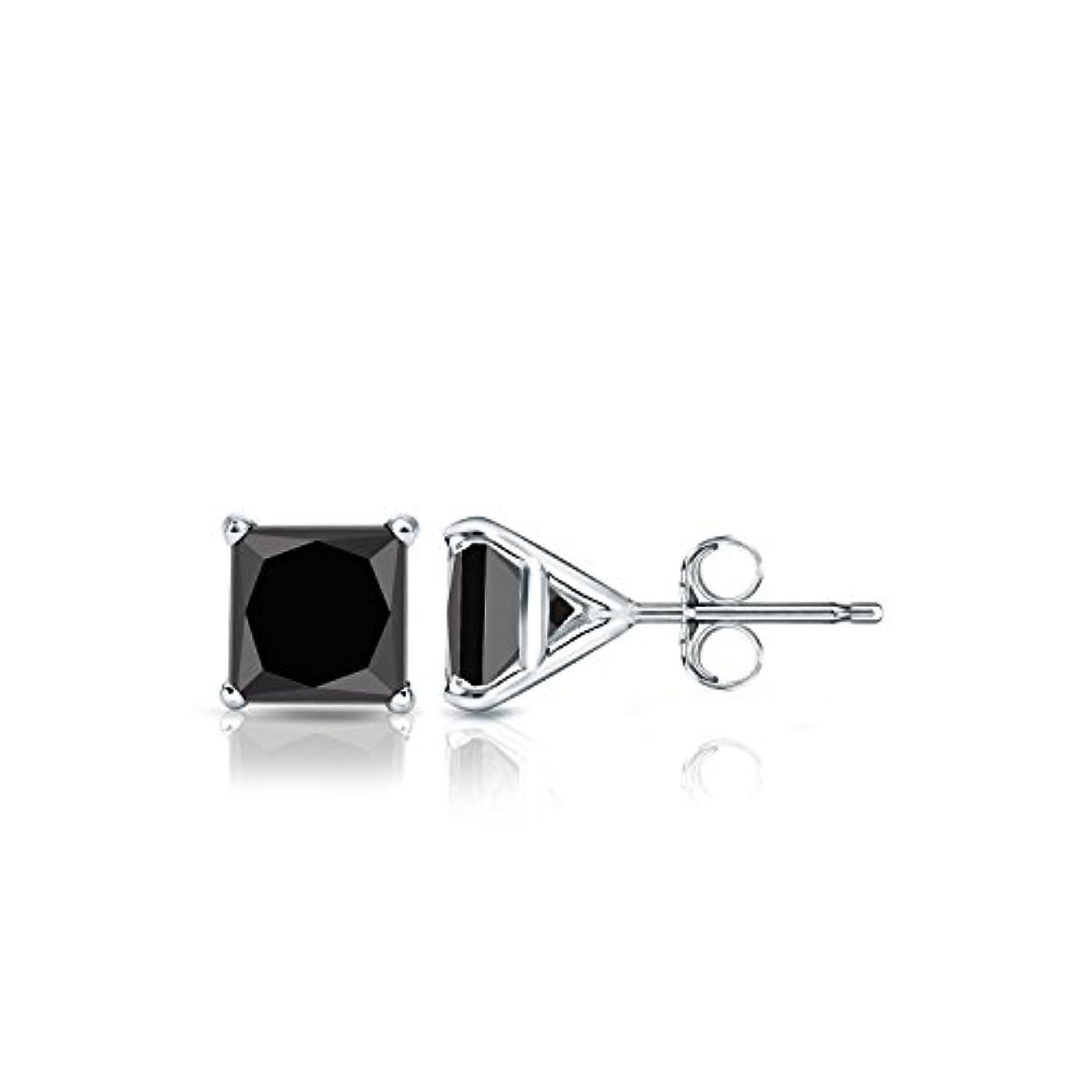 ホバートあからさま有益18 Kホワイトゴールドメンズプリンセスブラックダイヤモンド4プロングMartiniスタッドイヤリング( 1 / 2 – 4 ct、ブラック) push-back