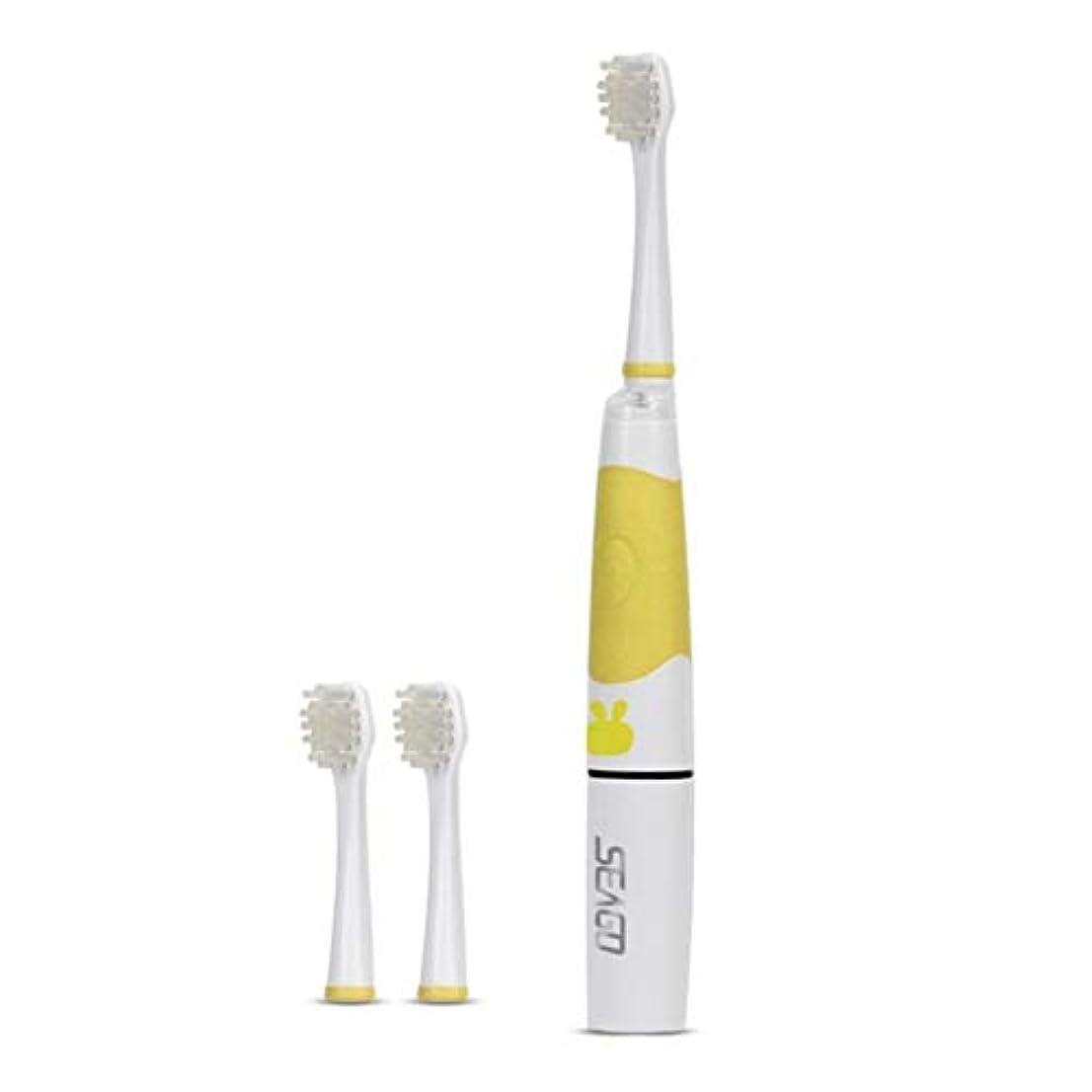 細菌釈義優先権SOOKi 子供ソニック電動歯ブラシLEDライトキッズソニック歯ブラシスマートリマインダー赤ちゃんの歯ブラシ幼児歯ブラシで余分2交換可能なブラシヘッド用2-7子供,Yellow