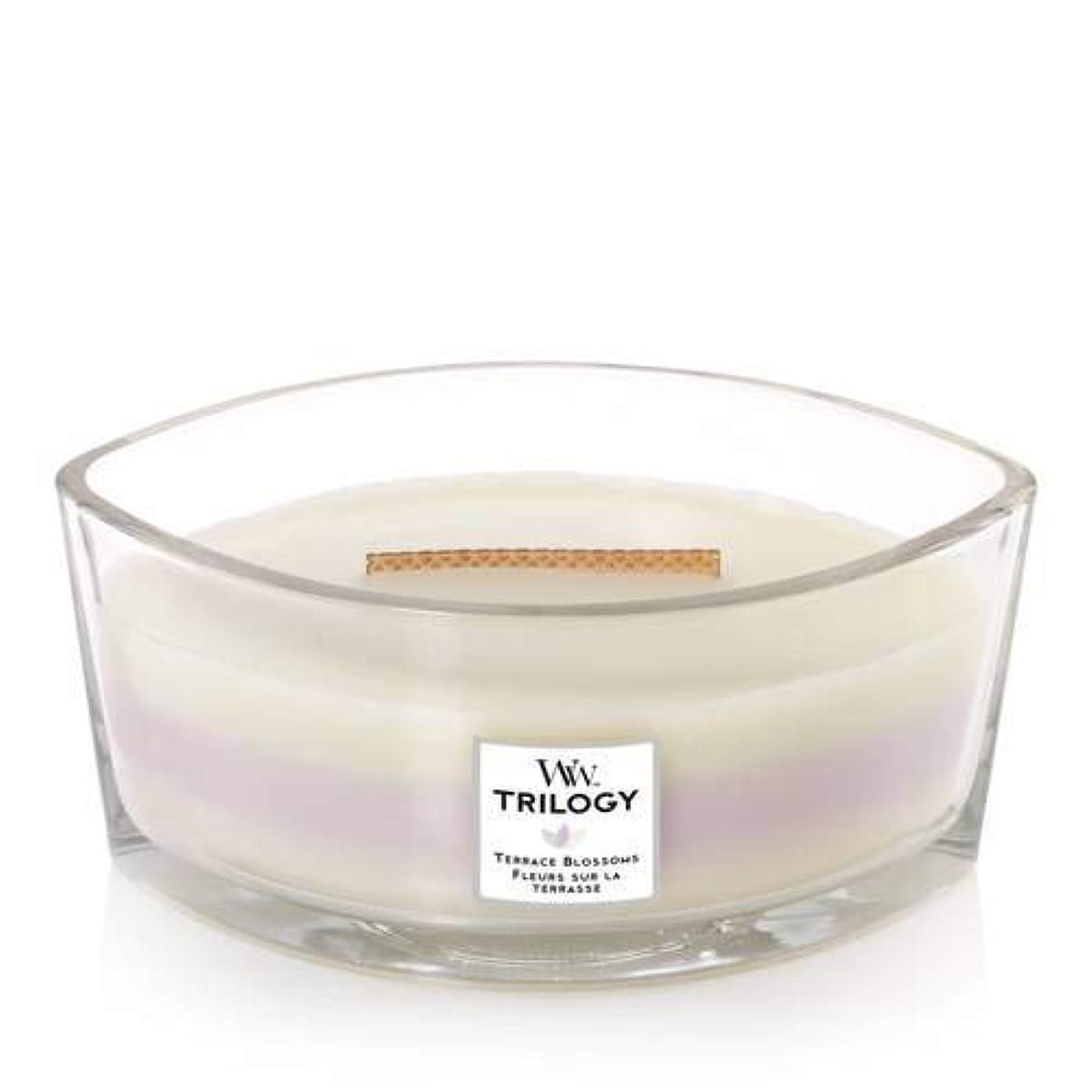 軽く最小化する精通したWoodWick Terrace Blossoms トリロジーキャンドル - Fig Leaf & Tuberose, Wild Violet and Magnolia Ellipse 76973