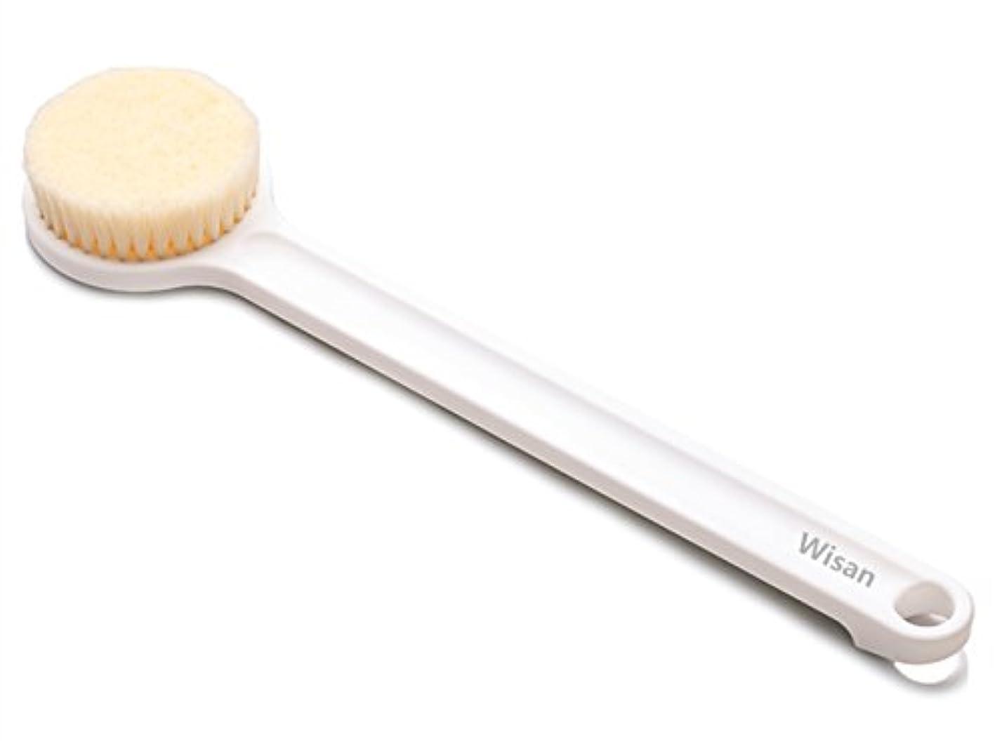 レシピおじいちゃんりんごWisan ボディブラシ ソフトヘアアンチスリップロングハンドル リング付シャワーブラシ (ホワイト) (1個)