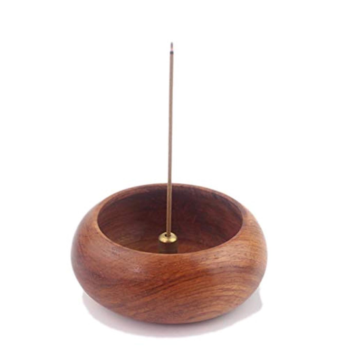 冒険起点バインドローズウッドボウル型香炉ホルダーキャンドルアロマセラピー炉香ホルダーホームリビングルーム香バーナー装飾 (Color : Wood, サイズ : 6.2*2.4cm)