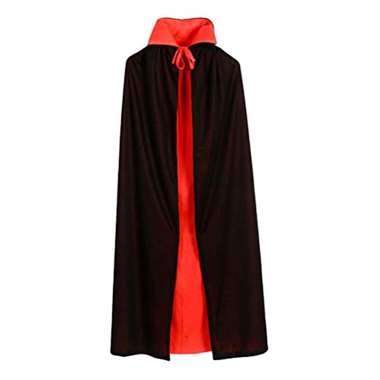 一方、恥競うToyvian ヴァンパイアマント二重層黒と赤のフード付きマントヴァンパイアコスチュームコスプレケープは男の子と女の子のためにドレスアップ(90cmストレートカラーダブルマント)