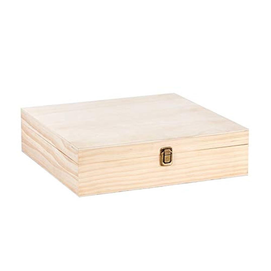 オーブン無エンジンアロマセラピー収納ボックス 油および10mlのローラーボトル木材油収納ボックス75鍵穴の87種類のスロット12の5?15ミリリットル エッセンシャルオイル収納ボックス (色 : Natural, サイズ : 25.5X25.5X9.5CM)