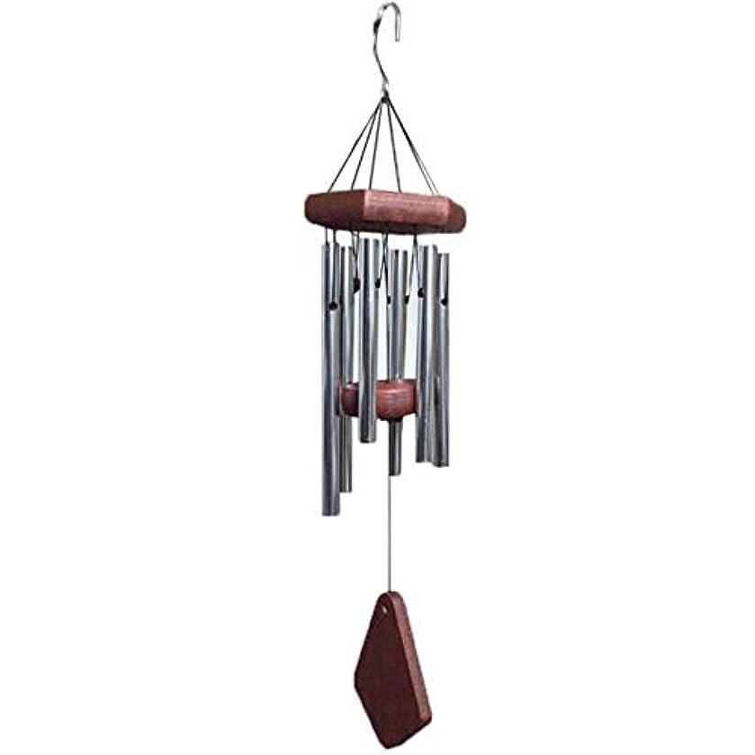 種をまくトロイの木馬海外Qiyuezhuangshi 風チャイム、メタル6チューブ風の鐘、ブラック、全身について52CM,美しいホリデーギフト (Color : Silver)