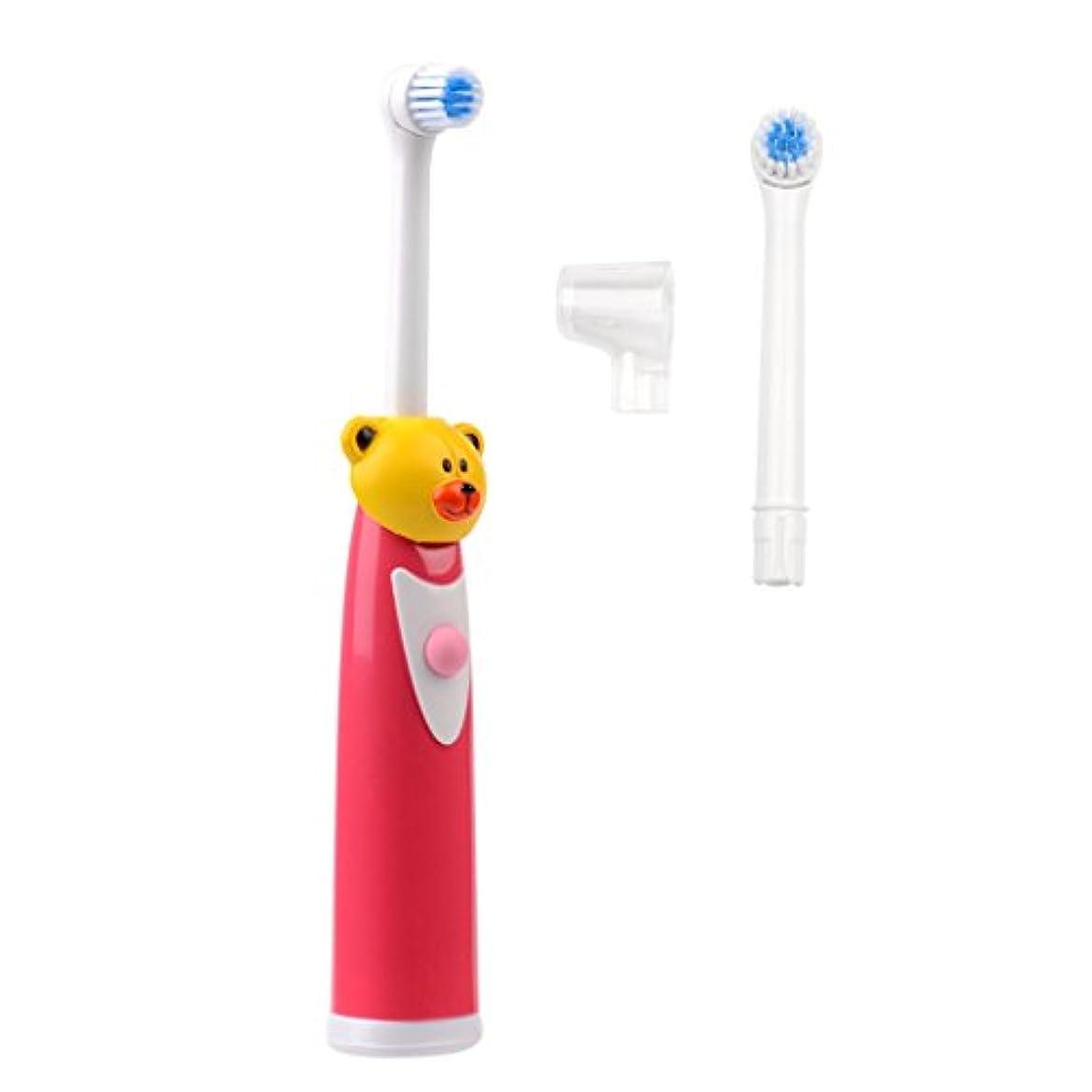 くしゃくしゃ元の安全でない(inkint)電動歯ブラシ 子供用 かわいいキャラクター ミニサイズ 交換用ブラシ付 操作簡単 クマさんブラシ かわいい 歯ぐきを傷つけない レッド