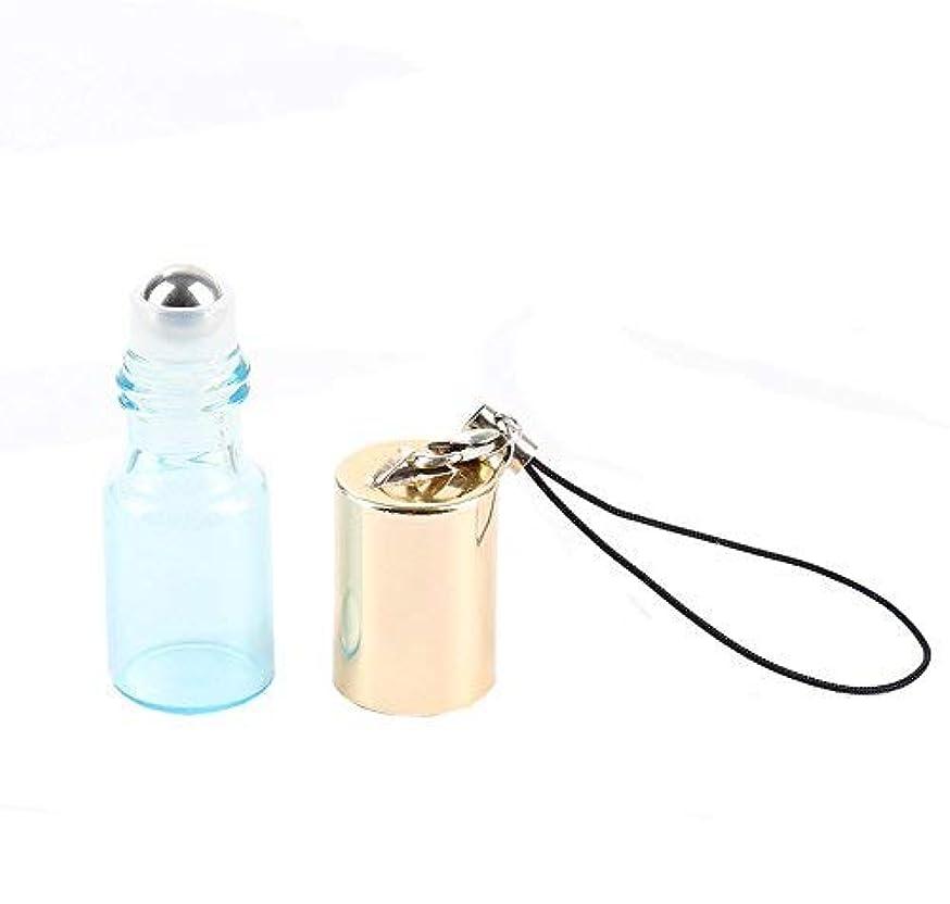 レンチ素人粉砕するEmpty Roller Bottles - Pack of 12 3ml Pearl Colored Glass Roll-on Bottles for Essential Oil Container with Golden Hanging Lids and 1Pc 3ml Droppers Included (Blue) [並行輸入品]