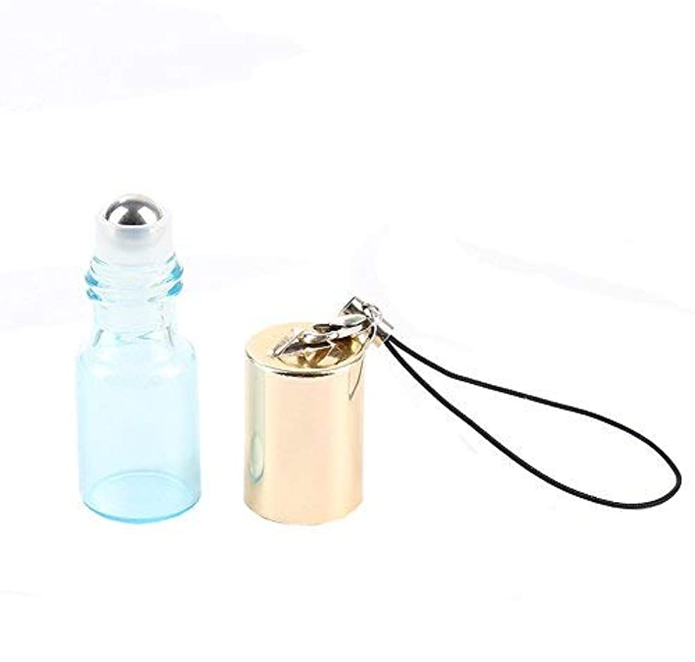 攻撃的九男Empty Roller Bottles - Pack of 12 3ml Pearl Colored Glass Roll-on Bottles for Essential Oil Container with Golden...