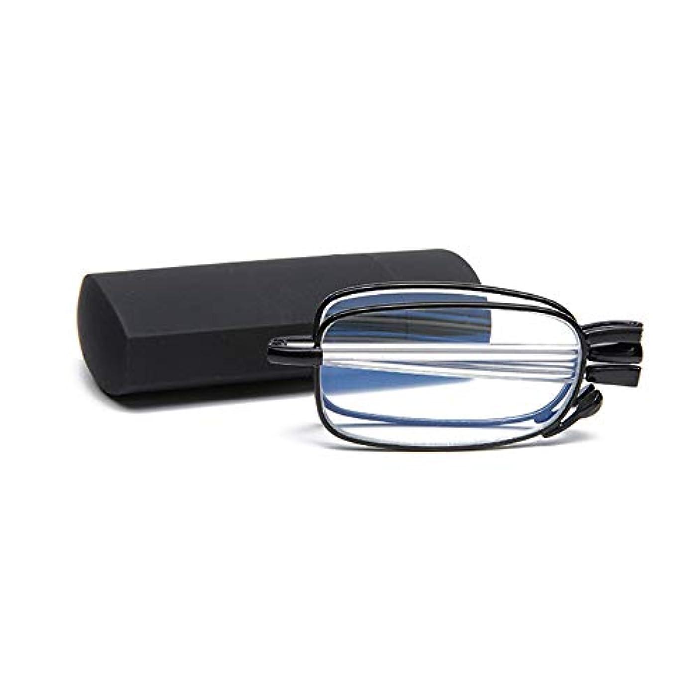 ミニメガネケースとポータブルアンチブルーライト折りたたみ伸縮式足老眼鏡,黒,+2.5
