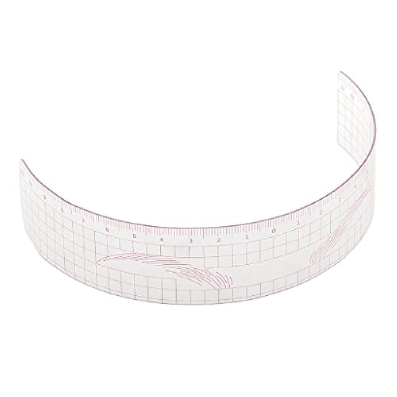 P Prettyia 眉毛の定規 眉毛ステンシル 眉毛ルーラー 測定用 ルーラー マイクロブレード 再利用可能 全3色 - ピンク