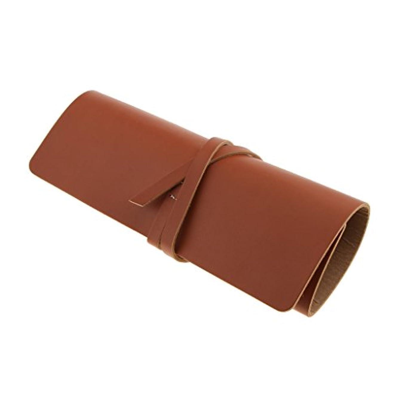 慢寂しい便利さHellery カミソリケース 収納ケース 収納ポーチ ストレート かみそりケース プロテクターポーチ 理容 全2色 - 褐色