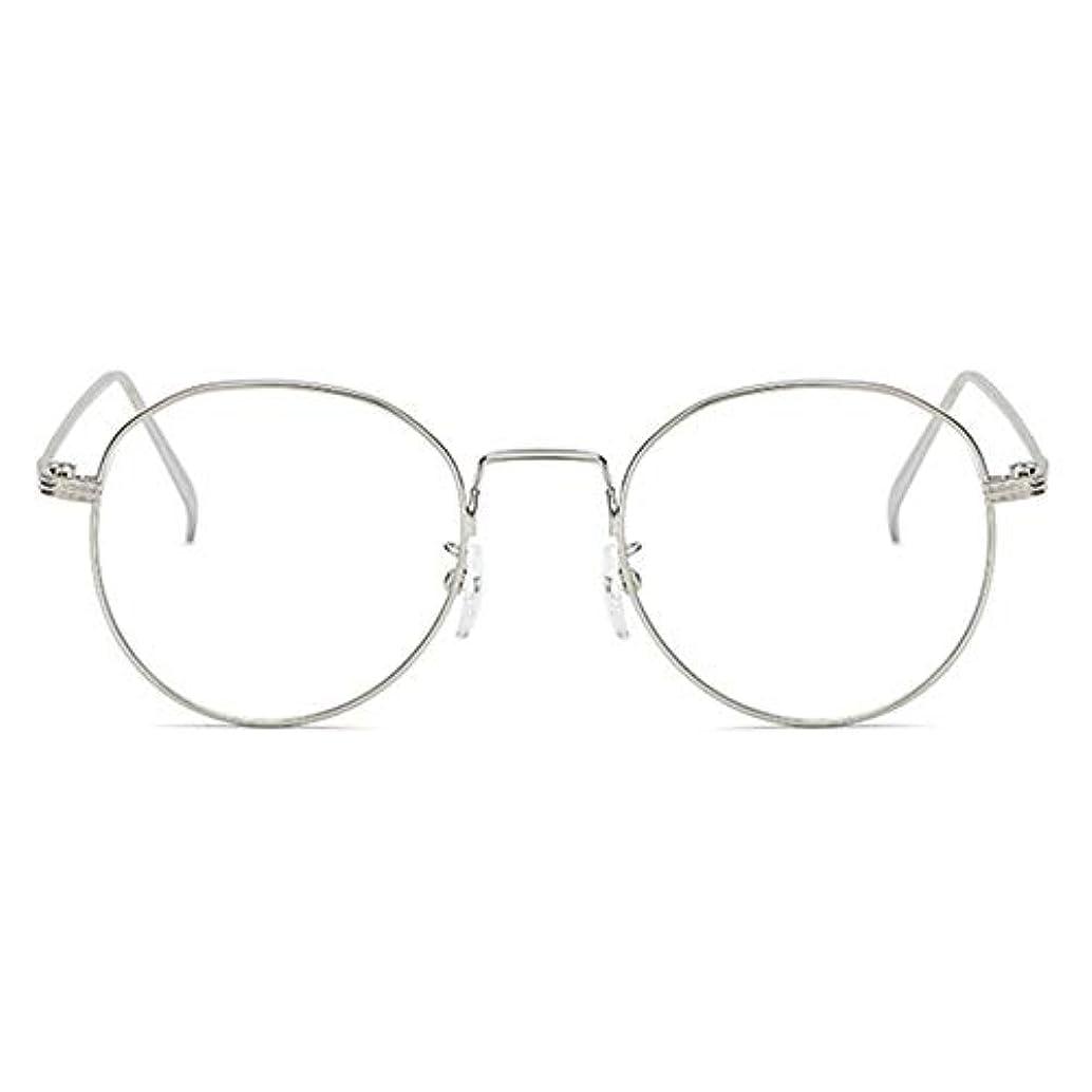 五薬横丸型アンチブルーライト男性女性メガネ軽量金属フレームプレーンミラーレンズアイウェアメガネ-シルバー