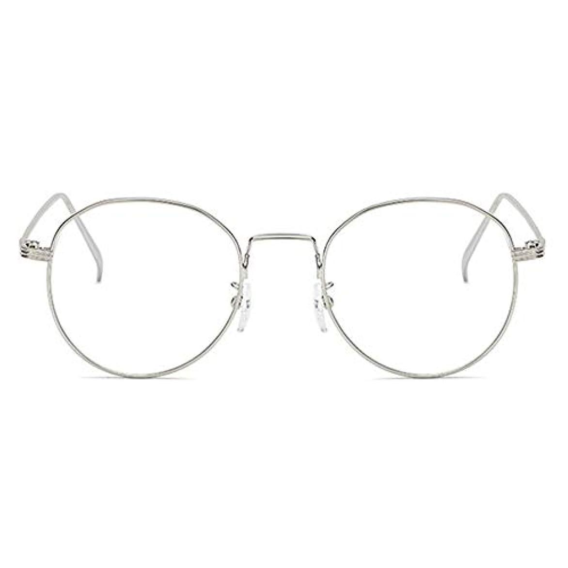土地圧縮された突進丸型アンチブルーライト男性女性メガネ軽量金属フレームプレーンミラーレンズアイウェアメガネ-シルバー