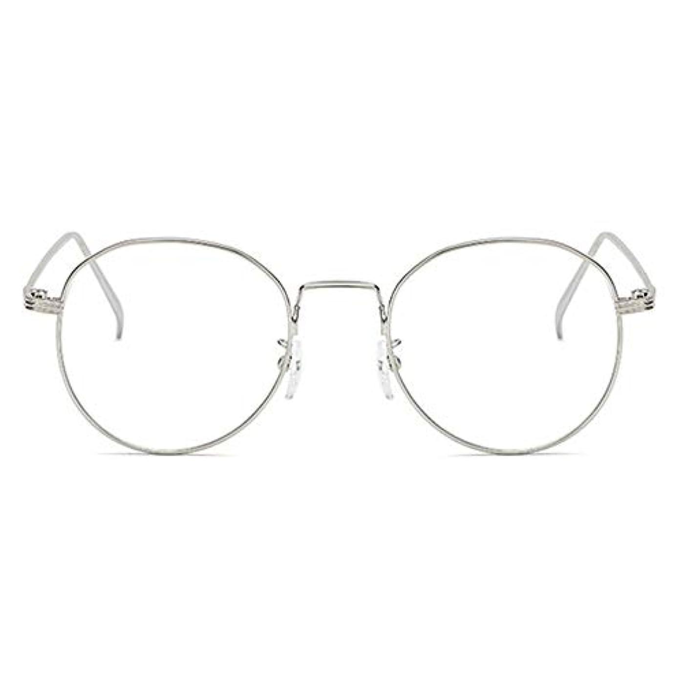 死すべきスチール差し引く丸型アンチブルーライト男性女性メガネ軽量金属フレームプレーンミラーレンズアイウェアメガネ-シルバー