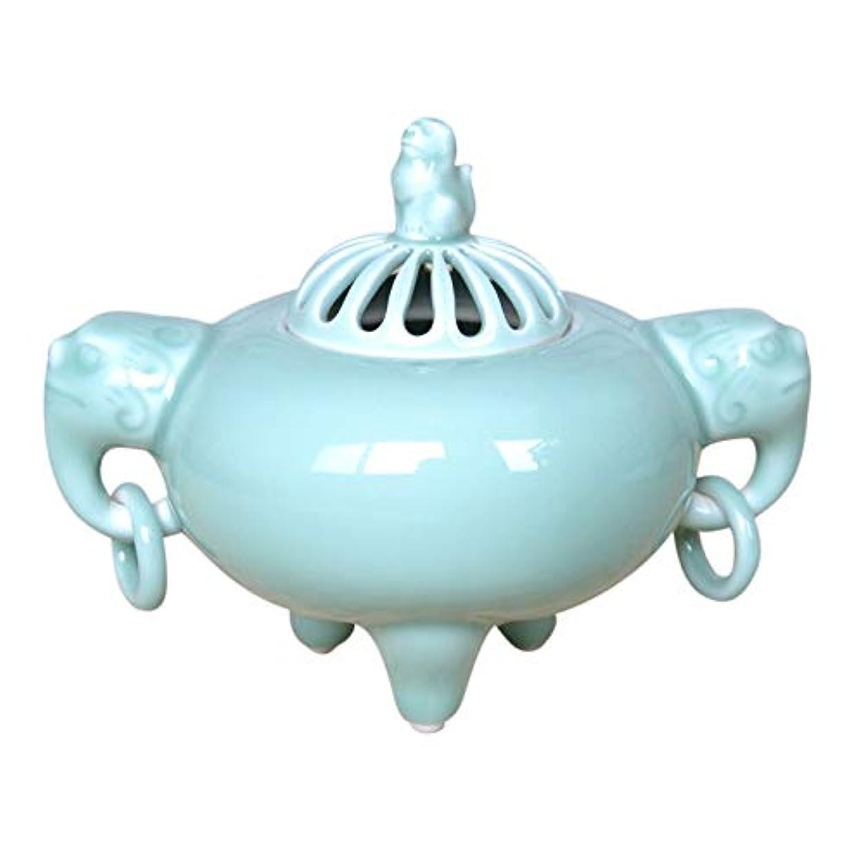 仕事規模おもしろい有田焼 青磁丸中遊環 香炉(木箱付)【サイズ】高さ12.2cm