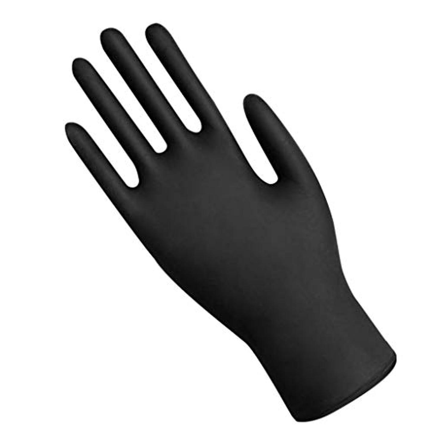 相対サイズ感じ人種Lazayyi 50枚入 シルク手袋 手袋 使い捨て手袋 手荒い 滑りにくい 超弾性 (M, ブラック)