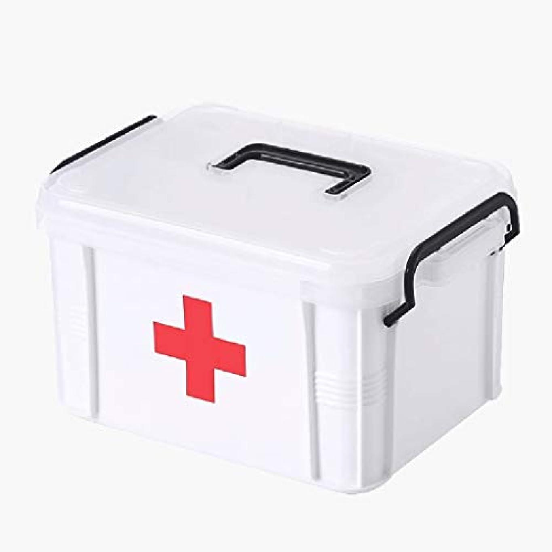 狂ったレイオデュッセウスXKJPShop 救急箱 救急箱の薬箱、二重層の医学の収納箱、プラスチック薬の容器箱の丸薬箱 応急処置ケース、家庭、職場、学校 (Size : S)