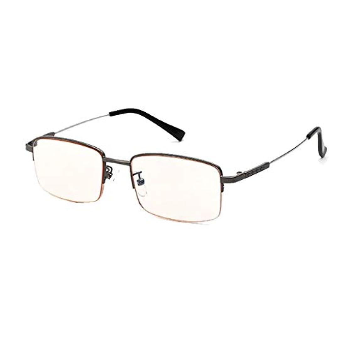 放射線防護ブルーレイコンピュータ、老眼鏡、超軽量老眼鏡メンズブラウンレンズ(シルバー、ゴールド、グレー)
