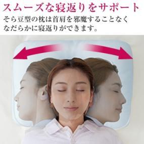 人は寝返りをする時、弧を描くようにスライドしています。 したがって枕の形状は、それに則した形が望ましいいのです。 このそら豆型の枕は首肩を邪魔することなくなだらかに寝返りができます。