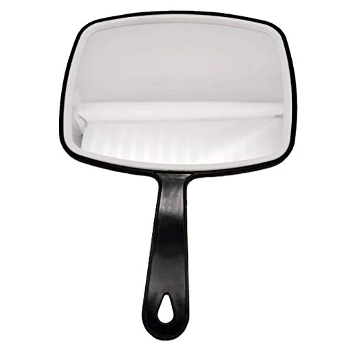 モンゴメリーモンゴメリーコイン理髪ハンドミラー、ABSフレームメイクアップミラー、バスルームとベッドルーム用ミラー、床屋ヘアカットミラー (黒-1個)