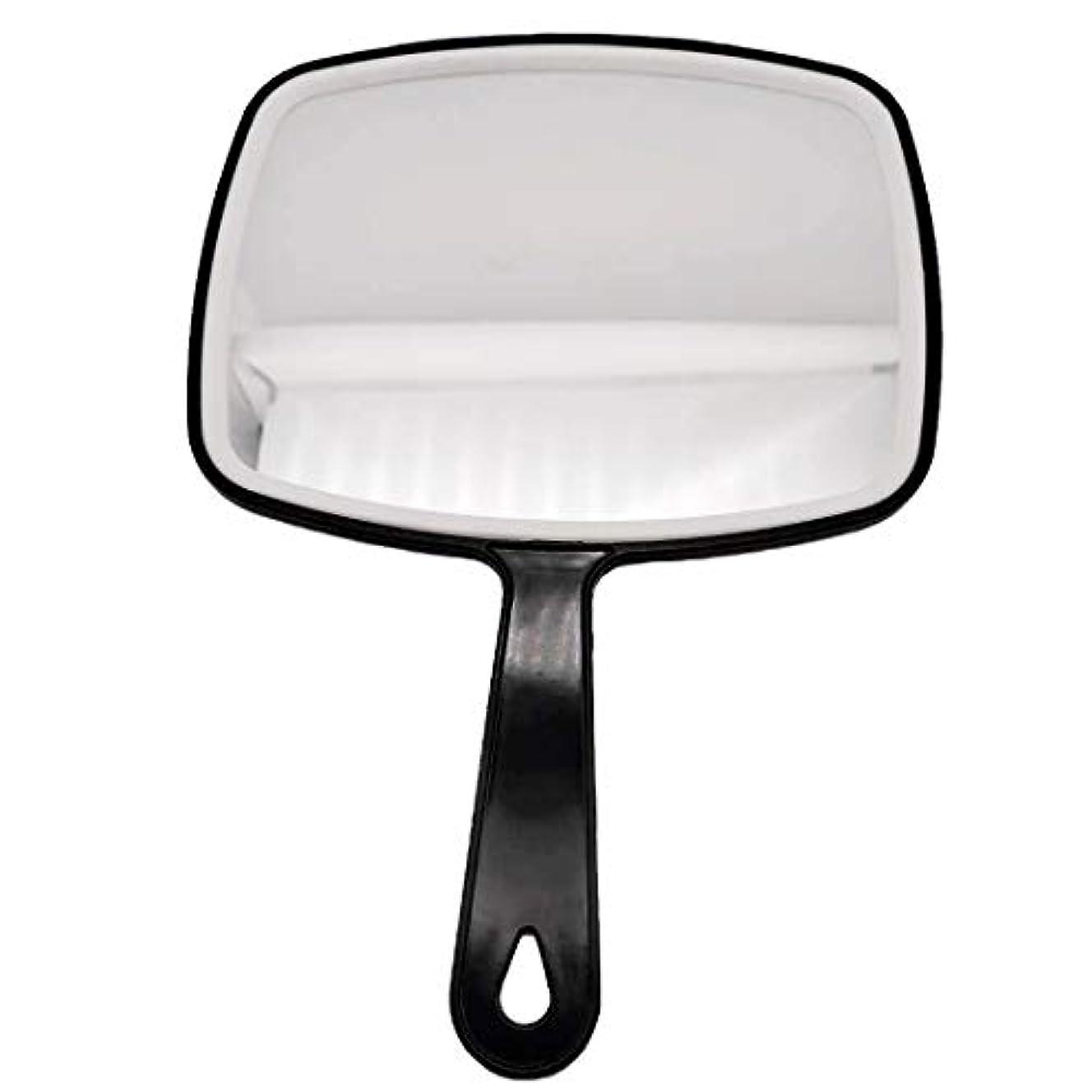 番号シリーズ鯨理髪ハンドミラー、ABSフレームメイクアップミラー、バスルームとベッドルーム用ミラー、床屋ヘアカットミラー (黒-1個)