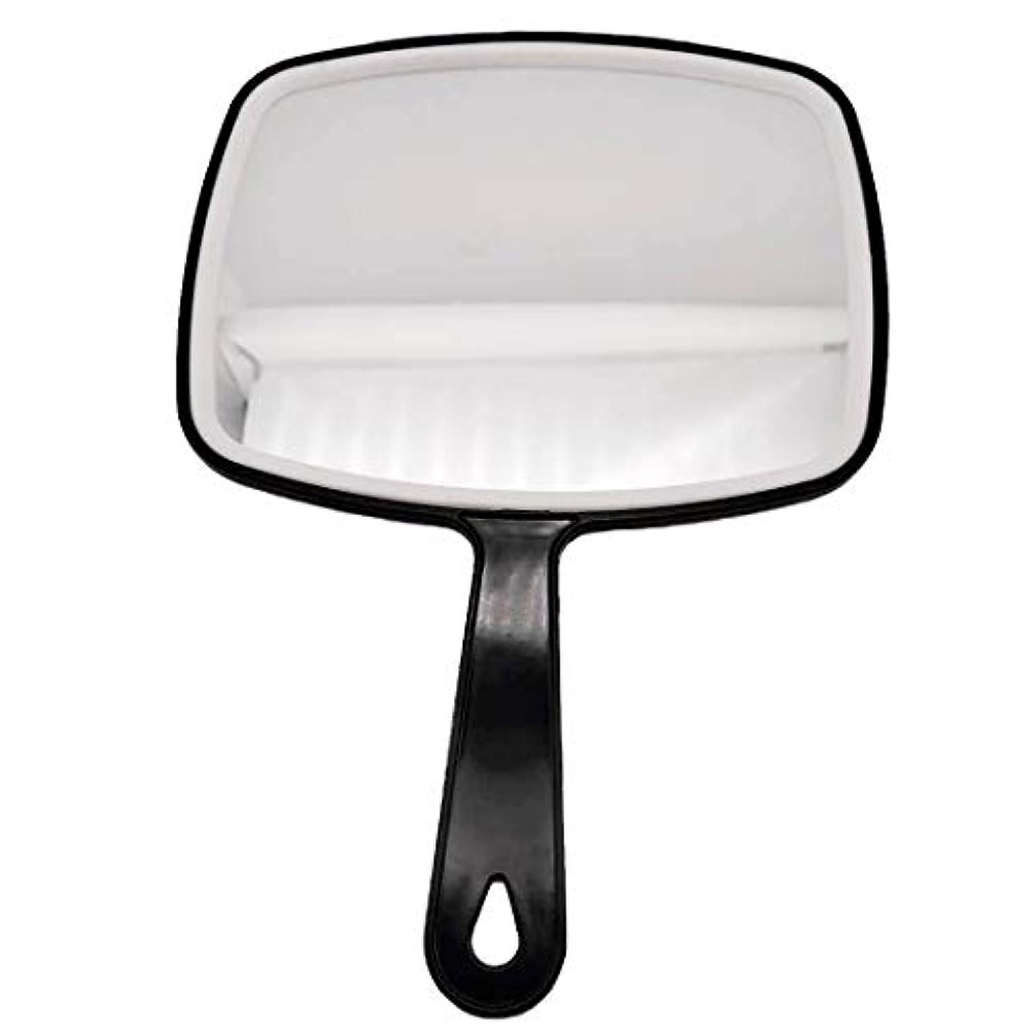 理髪ハンドミラー、ABSフレームメイクアップミラー、バスルームとベッドルーム用ミラー、床屋ヘアカットミラー (黒-1個)
