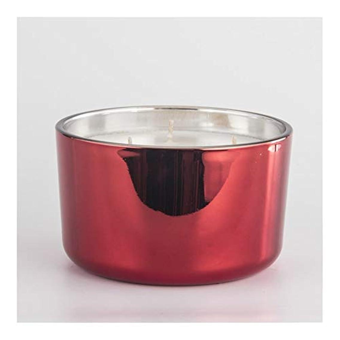 不正直屋内で大聖堂Ztian キャンドルカップ香料入りキャンドル鉢植えワックスカップキャンドルカップ電着赤3芯カップガラスカップワックス